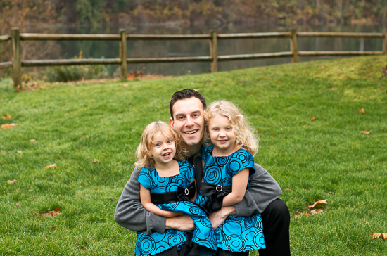 photo of father with two girls