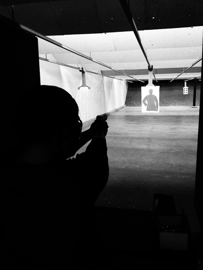 photo of shooter at gun range