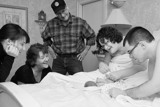 photograph of family welcoming baby at Eastside Birth Center